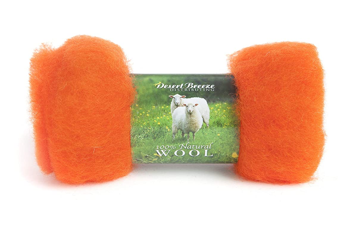 Maori Wool - A Special Blend of New Zealand Wools by DHG for Needle Felting and Wet Felting, 1 OZ Carded Wool Batt, 100% Pure Wool, Color Orange