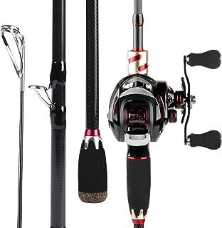 Sougayilang 诱饵钓鱼竿带渔线轮组合,中型电动便携式碳旅行钓竿,4 件.