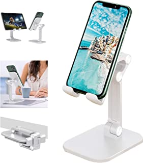 Cell Phone Stand, 120° Angle Height Adjustable iPhone Stand for Desk, Foldable Cell Phone Holder iPad Tablet Stand Compati...