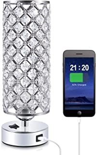 Crystal USB Table Lamp, Aooshine Modern Design Crystal Bedside Table Lamp with USB Charging Port, Decorative Round Nightst...