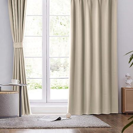 BEDELITE 遮光カーテン 1級 UVカット 2枚組 幅100cm丈200cm 厚手 防寒 断熱 保温 目隠し 洗える 遮音 かーてん ベージュ ベッドルーム 寝室 リビング用