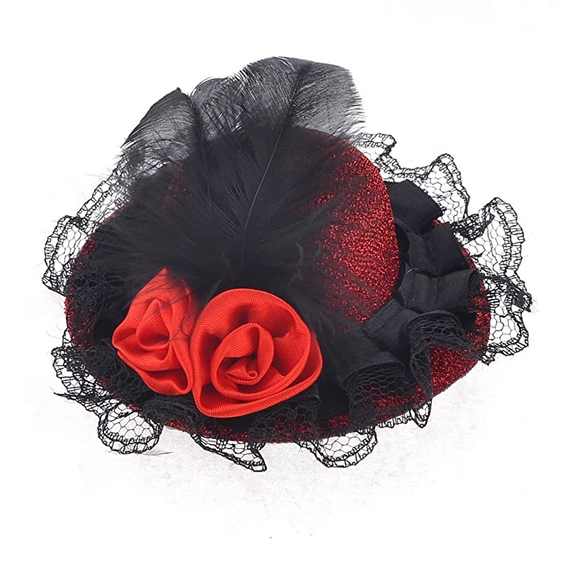 幻影年金受給者印象的CUHAWUDBA ブラックレースの花の装飾レッドミニトップハット女性のワニのヘアクランプ形
