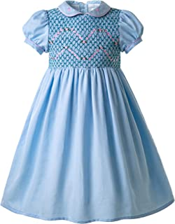 Pettigirl Girls Floral Smocked Dress with Embroidery