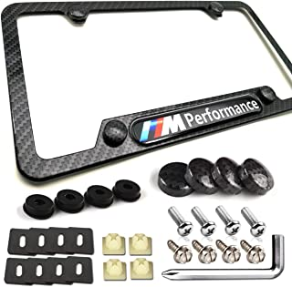 PUQIN-AUTO Carbon Fiber License Plate Frame -M Performance 3D Logo for MW, Black Aluminum License Plate Frames Metal Printing Carbon Fiber Pattern and Stainless Steel Plate Screws & Carbon Caps