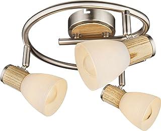 Lámpara de techo con 3 focos, lámpara de techo para salón, de madera, aplicación de focos móviles (luz de techo, lámpara de salón, lámpara de pasillo)
