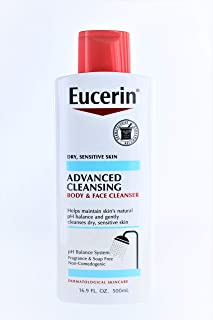 Eucerin Advanced Cleansing Body & Face Cleanser 16.9 Ounce (500ml) (2 Pack)