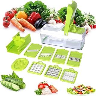 Mandoline 10 en 1 Multifonction Professionnelle Couteau de Cuisine Couper Hacher pour Légumes Fruits Coupe Rapidement et U...