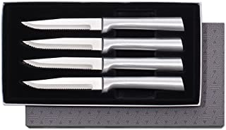 Rada Cutlery Serrated Steak Knife Set – Stainless Steel Knives With Brushed Aluminum Handles, Set of 4