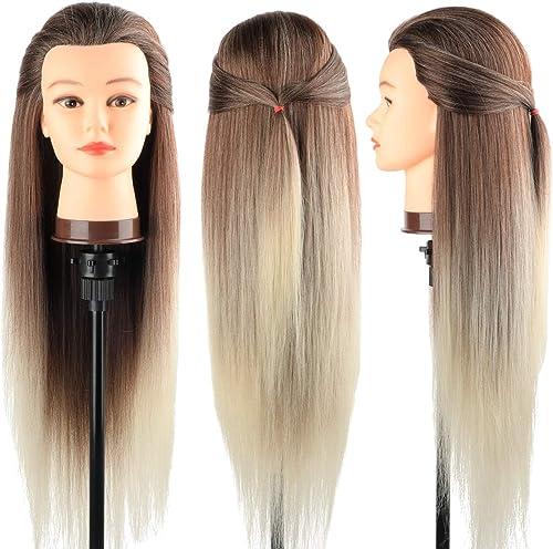 Tete a Coiffer, DanseeMeibr 66cm Tête de coiffure 100% de Cheveux Synthétiques Têtes d'exercice pour le Salon Coiffeu...