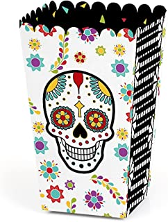 Big Dot of Happiness Day of the Dead - Halloween Sugar Skull Party Favor Popcorn Treat Boxes - Set of 12