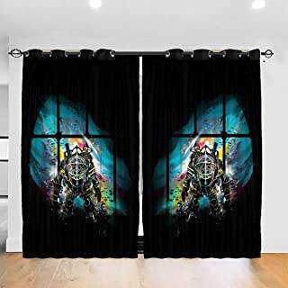 FDASLJ Customized Blackout Window Curtains Bioshock Mr Bubbles Big Daddy Grommet Thermal Insulated Room Darkening Drape for Bedroom Living Room 52 X 72 Inch, 2 Panels