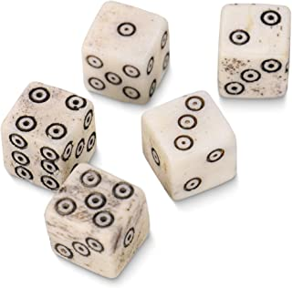 Luck of The Lich Bullseye Bone Dice | Set of 5 Hand-Carved Camel Bone 10mm Mini Dice | Premium Accessory for Tabletop Gaming, Roleplaying, & Classic Family Board Games | Made of Genuine Bone