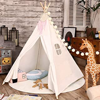 Love Tree Teepee Tent for Kids Indian Children Play Tent Fort Cotton Canvas Canopy Portable Playhouse for Indoor Outdoor with Carry Bag White