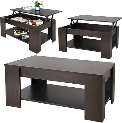Amazon.com: Bseack - Mesa auxiliar pequeña de café de tres ...