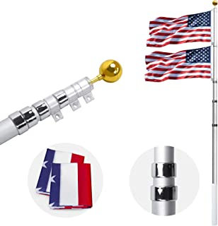 Best Gientan 20FT Telescopic Flag Pole, Extra Thick Heavy Duty Aluminum Flagpole Kit with 3x5 US Flag&Golden Ball Top for Commercial Residential Outdoor Use, Fly up 2 Flags Review