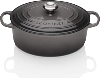 Le Creuset LS2502-297FSS Signature Enameled Cast-Iron Oval French (Dutch) Oven, 5-Quart, Oyster