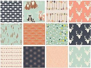 Hello Bear Quilt Fabric Bundle | Navy Mint Peach Woodland Fabrics | Deer Heads | Forest Animals | Art Gallery Fabrics | Bo...