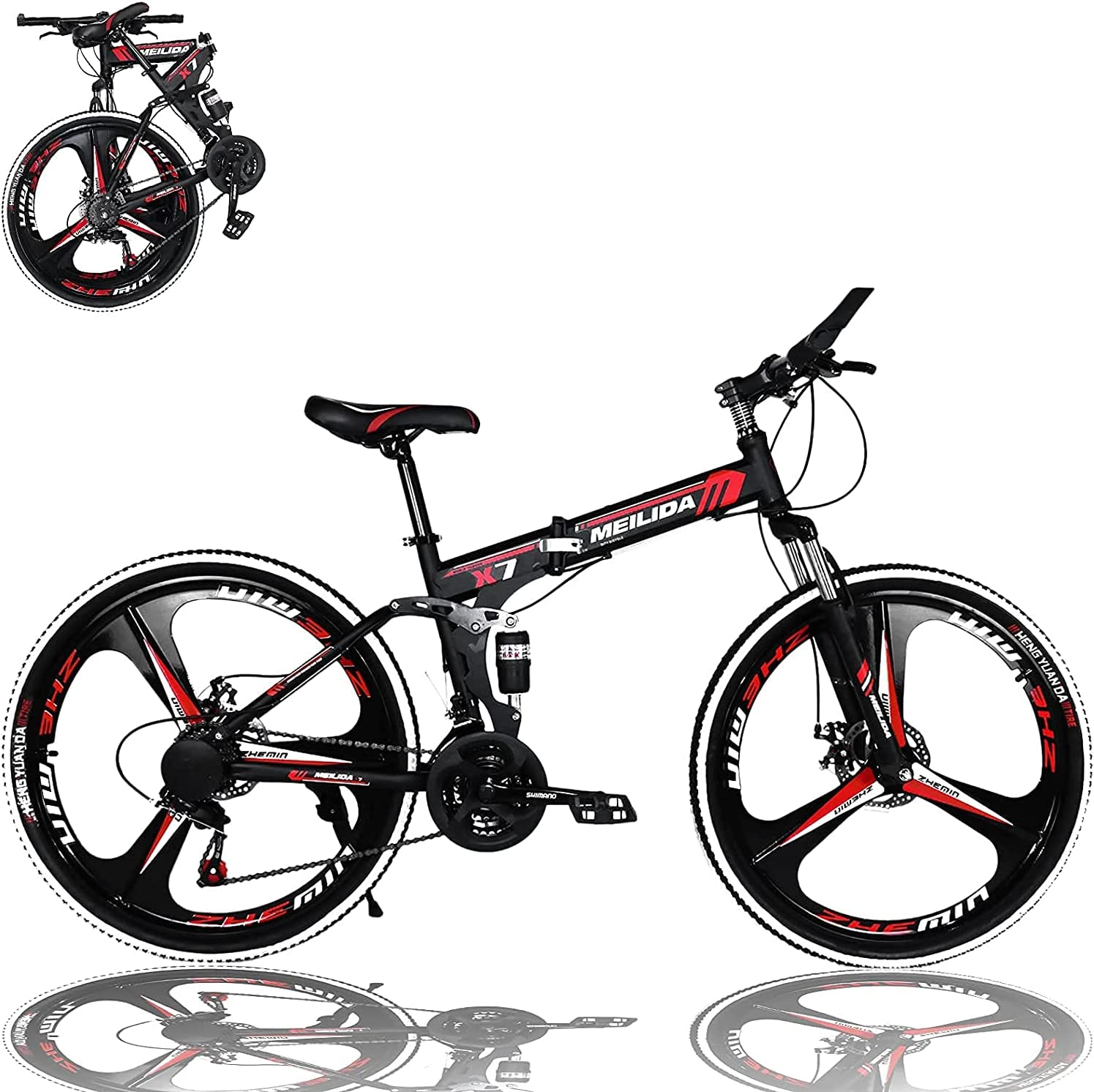 26In Folding Bicycle Mountain Bike - Large special price !! 21 F Branded goods Dual Brakes Disc Speed