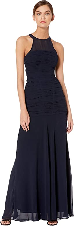 Sleeveless High Neck Fitted Ruching Gown