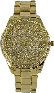 Women's Metal Bling Wrist Watch, Roman Numericals, Analog Quartz Movement with Diamante Face and Bezel PI-7290