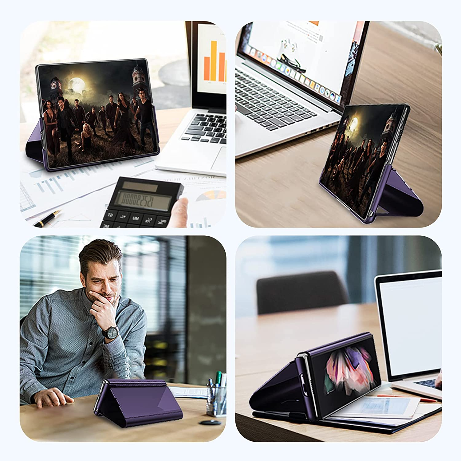 Compatible with Samsung Galaxy Z Fold 3 Case Flip Leather Cover Wallet Slim Clear S-View Mirror Shockproof Thin Cover with Kickstand Anti-Scratch Protective Case Cover for Samsung Z Fold 3 5G