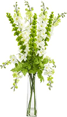 Silk Flowers -34 Inch White Delphinium and Bell of Ireland Arrangement Artificial Flowers