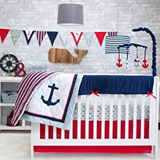 6 Piece White Red Blue Boys Baby Anchors Crib Bedding Set, Nautical Newborn Sailor Sea Themed Nursery Bed Set Infant Child Fishing Navy Pattern Blanket Quilt Rugby Stripes, Polyester Cotton