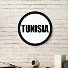 DIYthinker Tunisia Country Name Art Painting Picture Photo Wooden Round Frame Home Wall Decor Gift Large Black