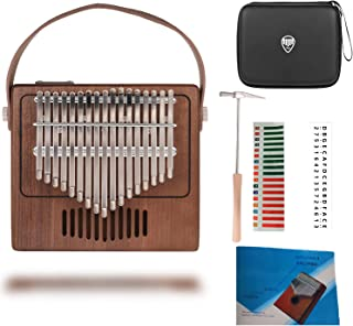 $35 » TOM Kalimba, 17 Key Finger Piano with EVA High-performance protective Case, Tune Hammer And Study Instruction 17 Tone Thumb Mbira for Kids Adult Beginners Professionals