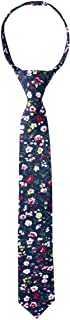 Spring Notion Boys' Cotton Floral Skinny Zipper Tie