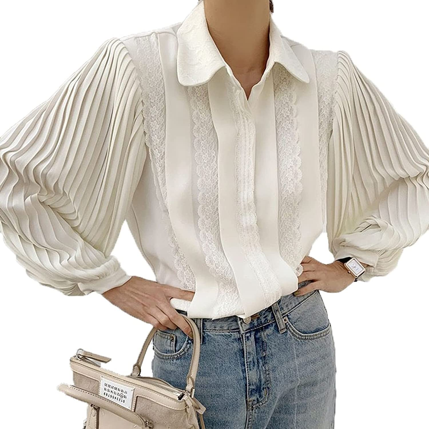 Button New Soldering product Down Shirt Women Business Ladies Simple Basic Blouses Puf