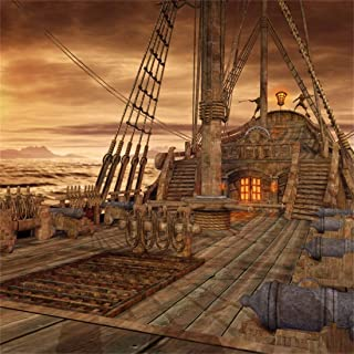 Yeele 10x10ft Deck Vinyl Photography Background Vintage Sailboat Nautical Battleship Old Wooden Deck Pirate Ship Photo Backdrops Pictures Studio Props Wallpaper