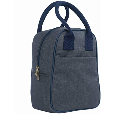 FATMUG Lunch Bag for Office Men and Women- Insulated Tiffin Bag for Kids - Oxford Fabric - Dark Grey