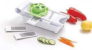 Self Ideas Mandoline de cuisine avec 5 lames en acier inoxydable Hachoir manuel 6 en 1. Coupe-légumes avec récipient antid...