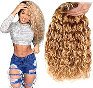 FASHION LINE Brazilian P27/613 Water Wave Blonde Human Hair Extensions Unprocessed Human Hair Bundles Weft 1PC 100g(18