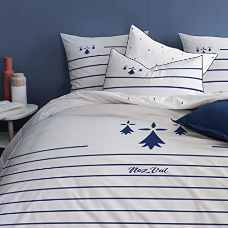 Parure de couette housse et 2 taie d/'oreiller zippée King Size 100/% coton BENETTON bleu