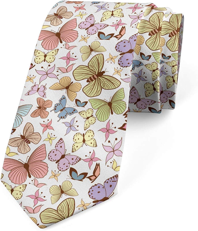 Ambesonne Men's Tie, Doodle Motley Butterflies, Necktie, 3.7