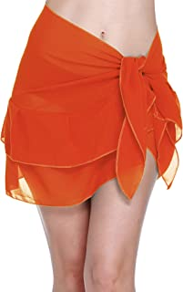 e89bbdcd6af20 ChinFun Women s Beach Cover up Short Sarong Dress Pareo Ruffle Swim Skirts Bathing  Suit Bikini Chic