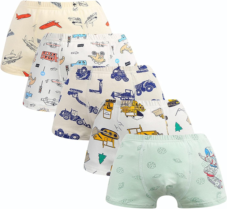 Alansha Boys Briefs Cotton Boxer Briefs Size 2-9 Underwears (Pack of 5) Dinosaur Tank Bus Space
