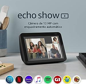 """Novo Echo Show 8 (2ª Geração, versão 2021): Smart Display HD de 8"""" com Alexa e câmera de 13 MP - Cor Preta"""