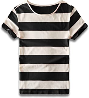 Mens Striped T Shirts Crew Neck Wide Stripe Tee Slim Fit Cotton Top Casual