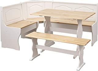 The Mezzanine Shoppe Knox Modern 3 Piece Corner Dining Nook Set, Natural/White
