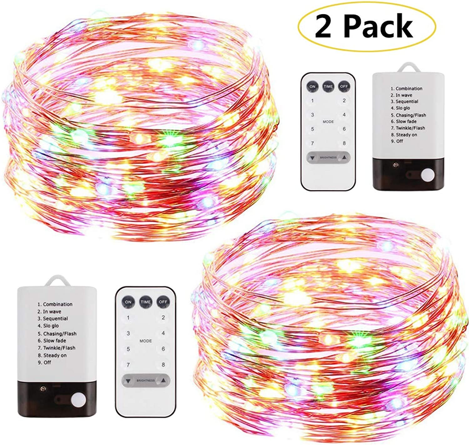 YALFEN Copper Wire Lights 40ft with 120 LEDs Dual-color String Lights with Dimmable Remote 8 Modes Timer USB Powered and Battery Powered 2 Pack