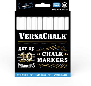 White Liquid Chalk Markers for Blackboards by VersaChalk (10 Chalkboard Markers, 3mm Fine Tip) - Washable Erasable Chalk Pens for Windows, Glass, Bistro Menu Signs, Chalk labels, Stickers