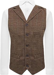 Luxury Herringbone Brown Tweed Waistcoat with Lapel, Tailored Fit