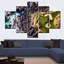 Golf Course Paintings Waves Hitting the Rocks Pictures for Living Room 5 Piece Canvas Wall Art Premium Quality Artwork Modern House Decorations Framed Ready to Hang Posters and Prints(60''Wx40''H)