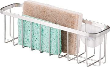 InterDesign Gia Kitchen Sink Organiser, Extra Large Metal Sink Caddy, Dish Sponge Holder, Silver