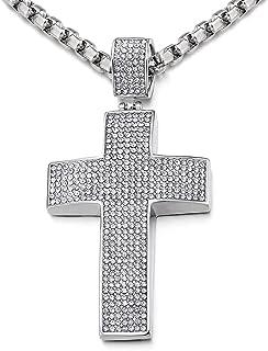 COOLSTEELANDBEYOND Grande Croce Collana con Pendente da Uomo Donna, Ciondolo Croce, Acciaio Inossidabile, con Zirconi, Cat...
