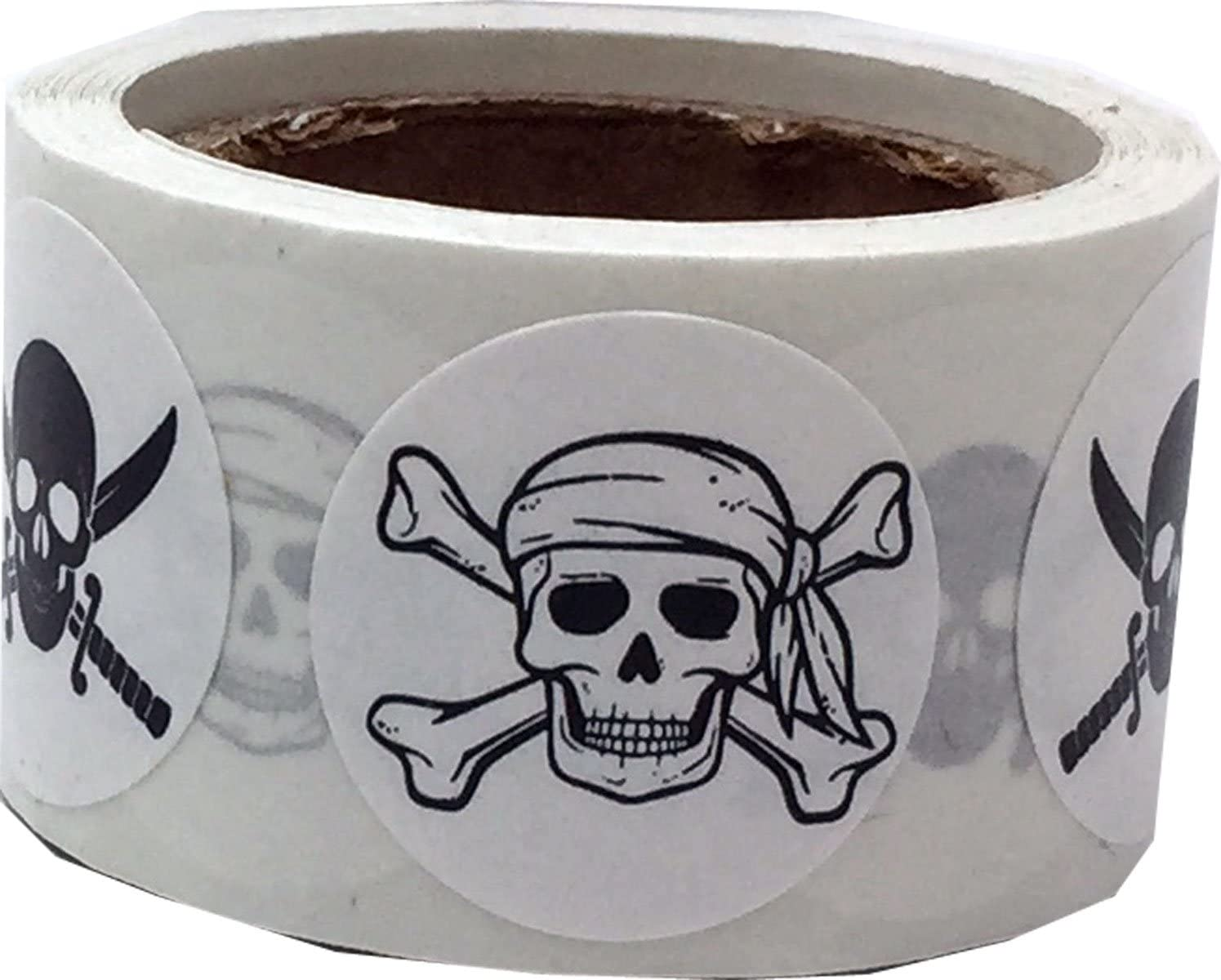 Gold Skull and Crossbones Circle Dot Stickers 100 Labels on a Roll 3//4 Inch Round