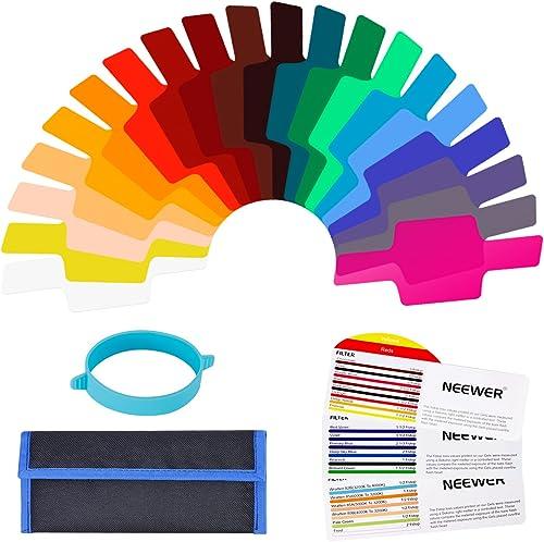 Neewer Kit de filtros universales para Flash de cámara (20 Unidades), Transparente para corrección de Color con Banda...